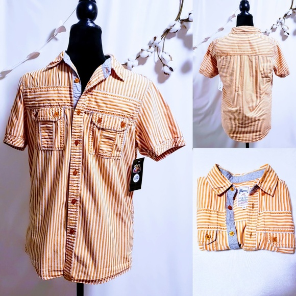 Request Other - Men's button down striped short sleeved shirt S🦅